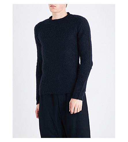 RICK OWENS Dropped-shoulder brushed knitted jumper (Black