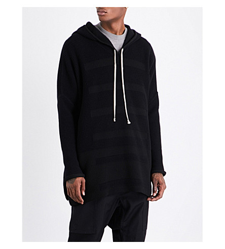 RICK OWENS Fisherman oversized knitted hoody (Black