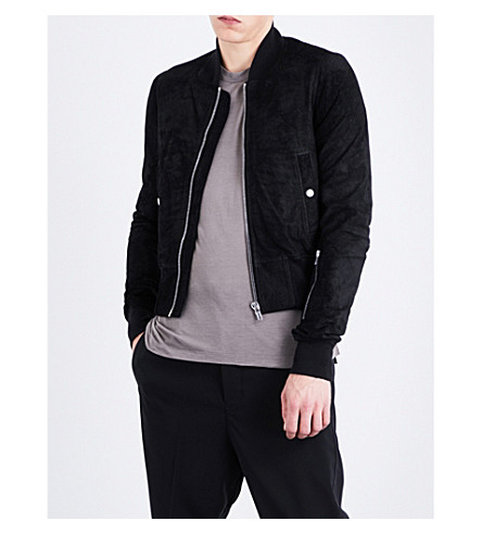 RICK OWENS Zipped-cuffs suede bomber jacket (Black