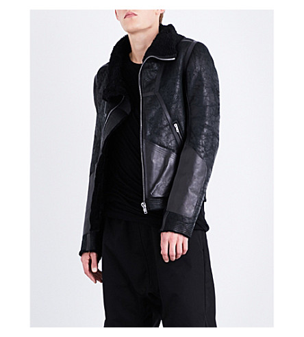 RICK OWENS Shearling-collar leather jacket (Black