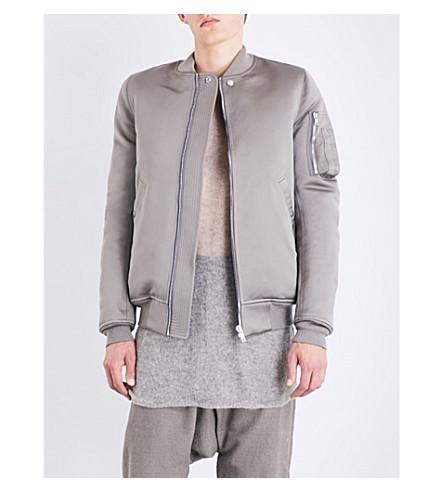 RICK OWENS Padded duchese satin bomber jacket (Dark+dust