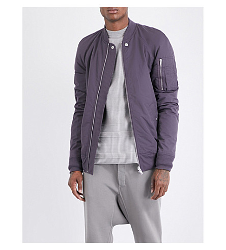 RICK OWENS Zip-pocket shell bomber jacket (Plum