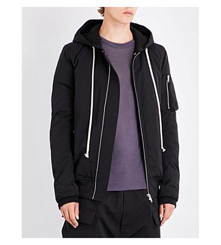 RICK OWENS Hooded cotton-blend bomber jacket (Black