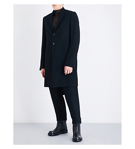 RICK OWENS Single-breasted mohair-blend coat (Black
