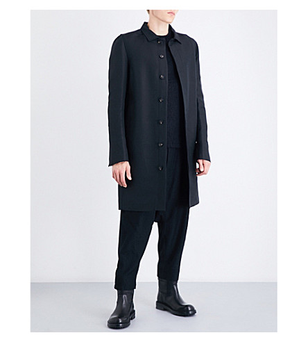 RICK OWENS Tailored woven mac (Black