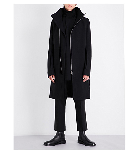 RICK OWENS High-neck wool-blend coat (Black