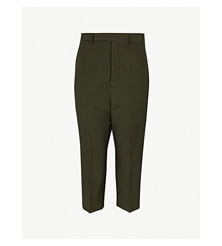 RICK OWENS Astaires straight cropped wool trousers (Forest