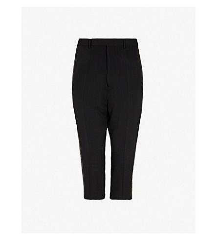 RICK OWENS Astaires slim-fit dropped-crotch wool trousers (Black