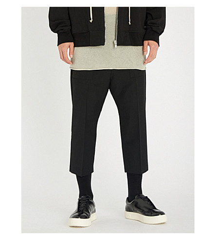 RICK OWENS Cargo relaxed-fit dropped-crotch wool trousers (Black