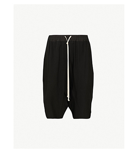 RICK OWENS Relaxed-fit dropped-crotch cropped trousers (Black