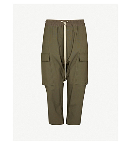 RICK OWENS Cargo relaxed-fit dropped-crotch trousers (Dark+dust