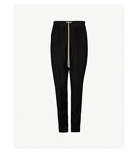 RICK OWENS Dropped-crotch relaxed-fit straight wool trousers (Black