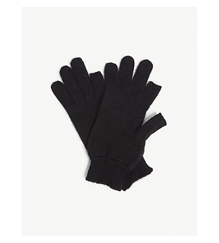 RICK OWENS Fingerless cashmere gloves (Black