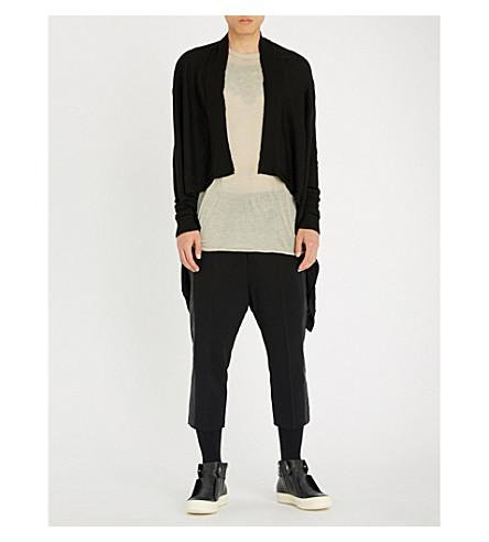 RICK OWENS Asymmetric cashmere cardigan (Black