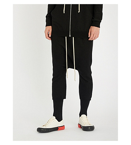 RICK OWENS Dropped-crotch cashmere shorts (Black