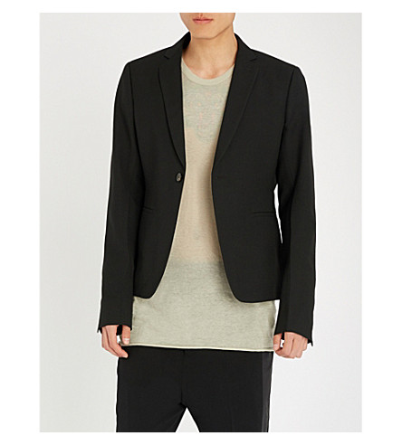 RICK OWENS Cropped regular-fit wool jacket (Black