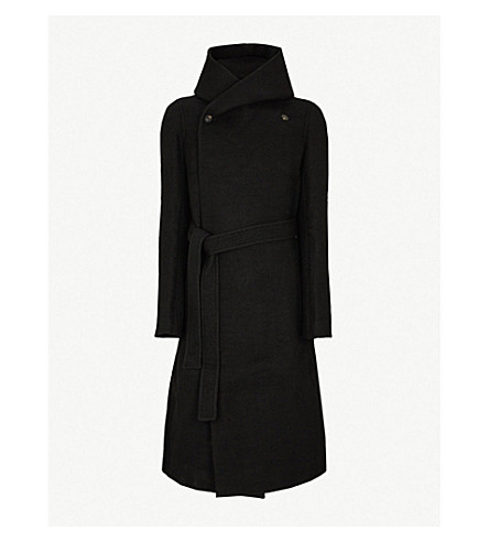 RICK OWENS Liner wrap-front wool coat (Black