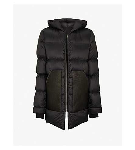 RICK OWENS Hooded shell-down coat (Black
