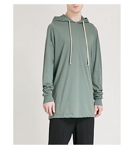 RICK OWENS Longline cotton hoody (Sage