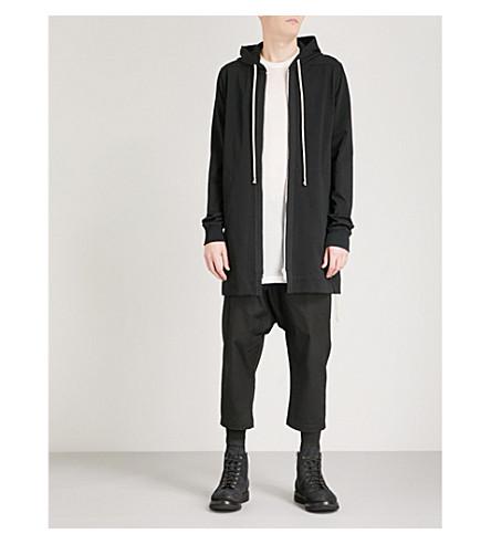RICK OWENS Longline cotton-jersey hoody (Black