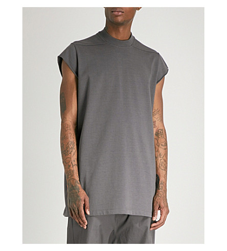 RICK OWENS Longline cotton-jersey top (Iron
