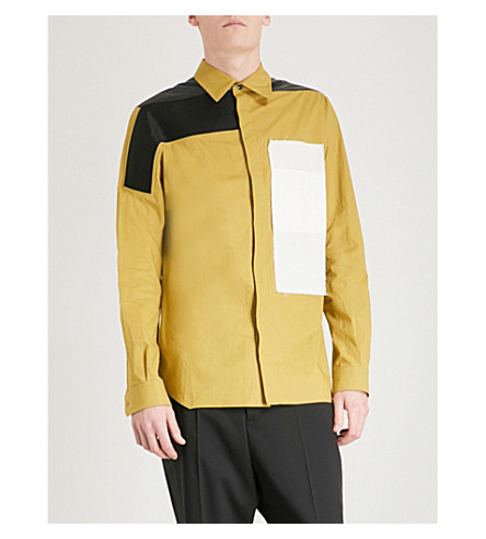 RICK OWENS Combo Work slim-fit cotton shirt (Yellow