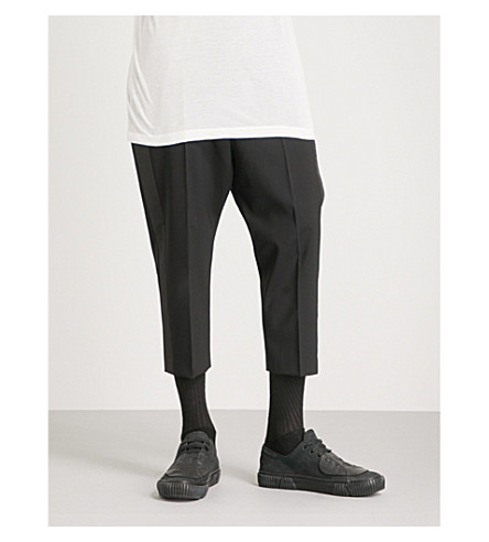 RICK OWENS Astaires regular-fit cropped cotton trousers (Black
