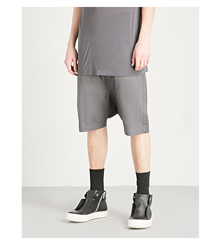 RICK OWENS Dropped-crotch cropped stretch-cotton shorts (Iron
