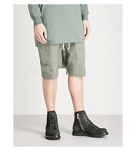 RICK OWENS Dropped-crotch stretch-cotton shorts (Sage