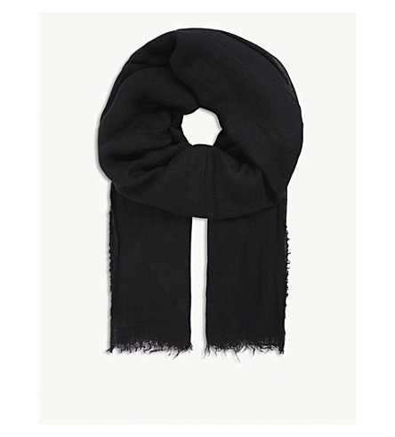 RICK OWENS 羊绒真丝混纺围巾 (黑色