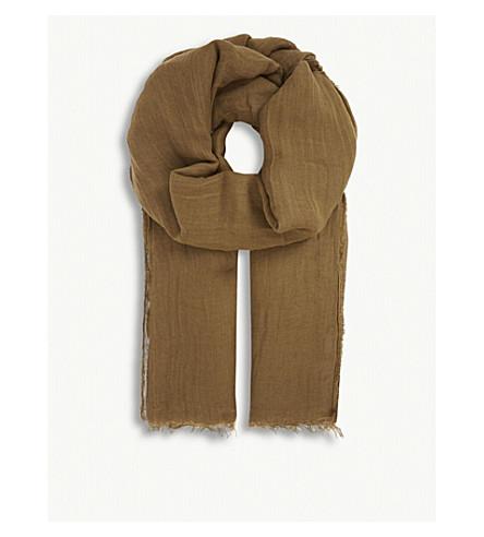 RICK OWENS Linen-silk blend scarf (Fern+green