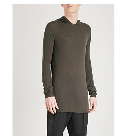 RICK OWENS Longline knitted wool hoody (Drk+dust