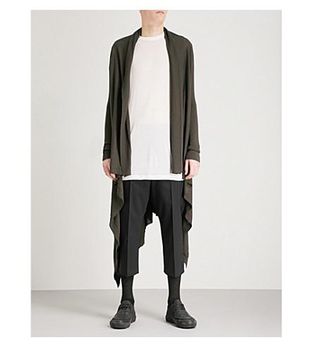 RICK OWENS Longline wool cardigan (Drk+dust