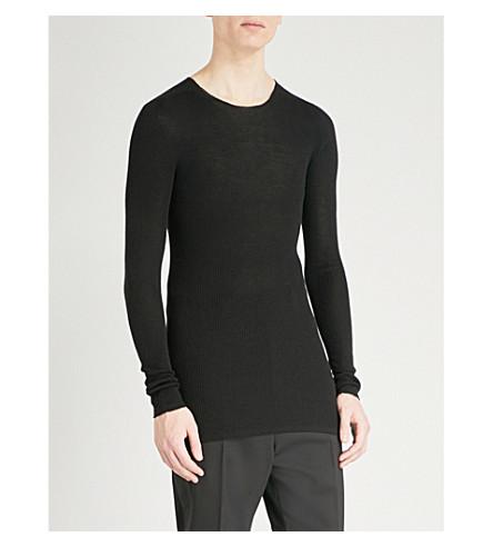RICK OWENS Ribbed wool jumper (Black
