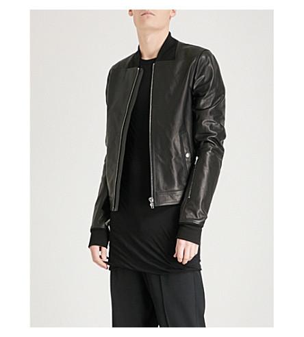 RICK OWENS Glitter leather bomber jacket (Black