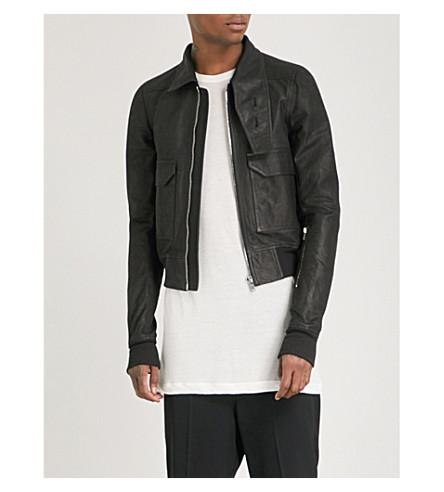 RICK OWENS Asymmetric-collar leather jacket (Black