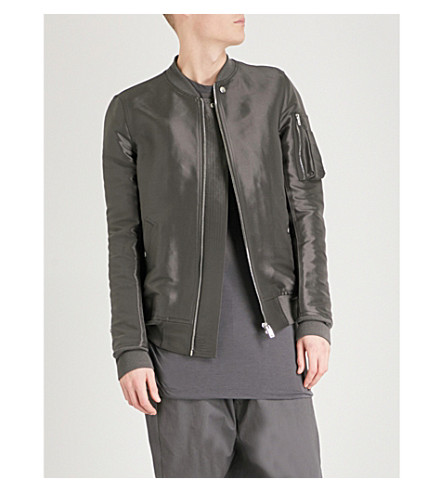 RICK OWENS Flight silk bomber jacket (Drk+dust