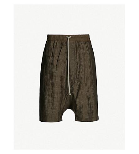 RICK OWENS Dropped-crotch wool-blend shorts (Mustard