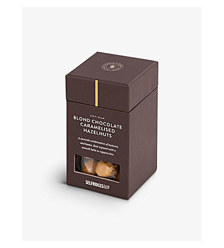SELFRIDGES SELECTION Caramelised hazelnuts coated in blonde chocolate 100g