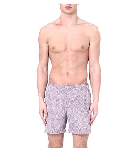 ORLEBAR BROWN Bulldog aztec-print swim shorts (Magenta