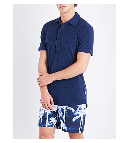 ORLEBAR BROWN Solid towelling cotton polo shirt (Navy