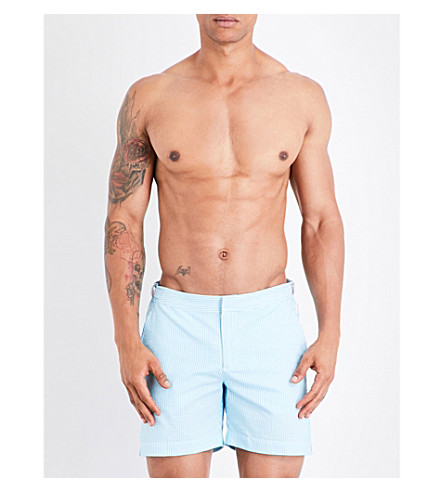 ORLEBAR BROWN Seersucker striped swim shorts (Blue+jay
