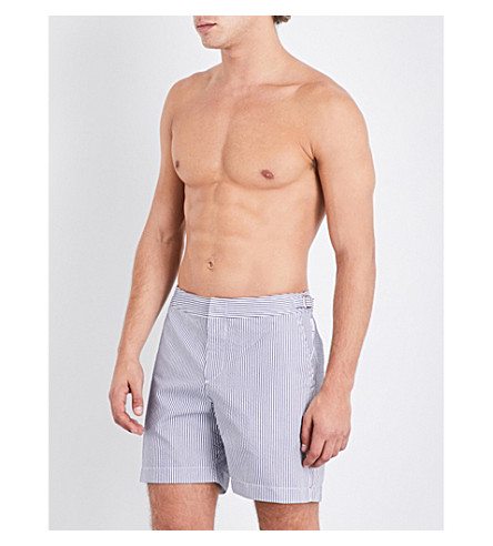 ORLEBAR BROWN Striped seersucker woven shorts (Navy