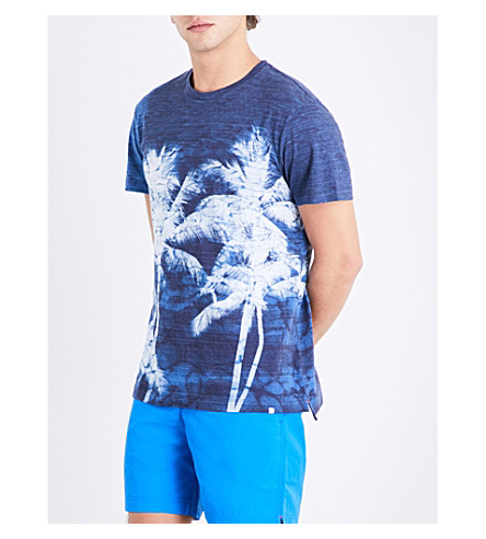 ORLEBAR BROWN Contrast palm tree cotton T-shirt (Navy+white