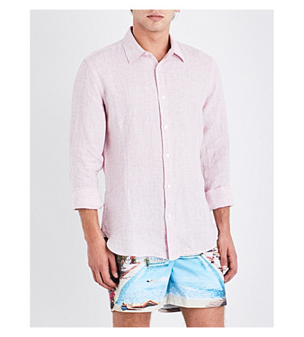 ORLEBAR BROWN Tailored-fit linen shirt (Pink
