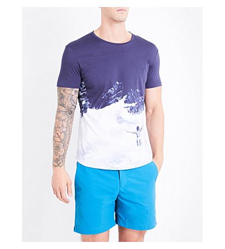 ORLEBAR BROWN Wave-print cotton-jersey T-shirt (Blue+divy