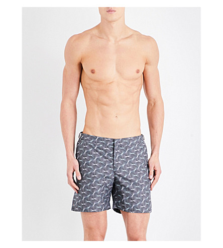 ORLEBAR BROWN Bulldog diamond-print swim shorts (Blk+teal