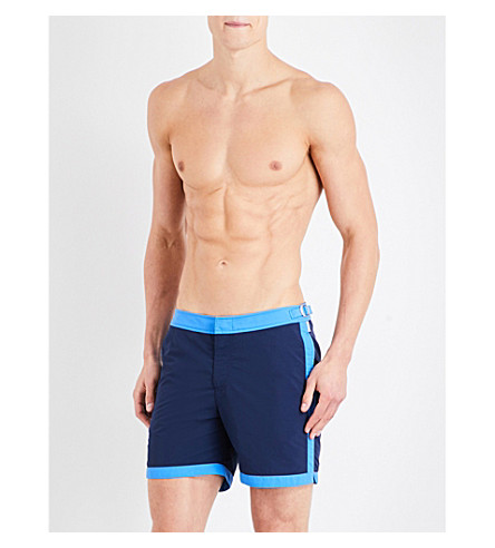 ORLEBAR BROWN Bulldog framed-edge swim shorts (Blue+navy