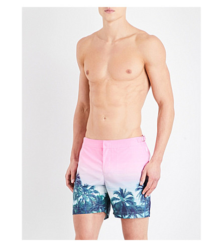 ORLEBAR BROWN Bulldog Palms Aplenty swim shorts (Pink+grn