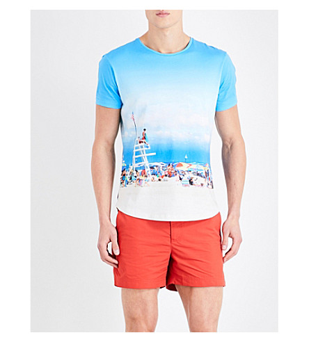 ORLEBAR BROWN Beach Scene cotton T-shirt (Sky